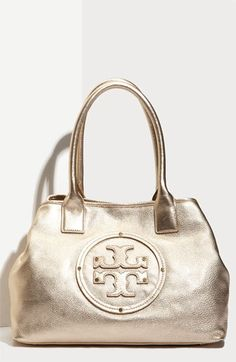 Tory Burch 'Stacked Logo Classic - Small' Tote in Gold