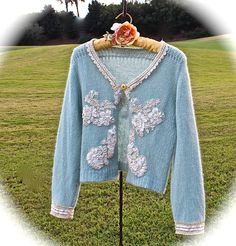 Rustic Romantic Maria Antoinette Sweater Baby Soft Handmade Shabby French Country OOAK by IzzyRoo on Etsy