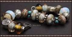 Summersday and troll glass, moon ocean Lovely grey, taupe and aqua  By Deborah Taylor