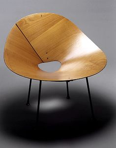 Kone chair, 1947  Designer: Roger McLay   Materials: Plywood, steel, rubber stoppers, screws.   Manufacturer: Roger McLay