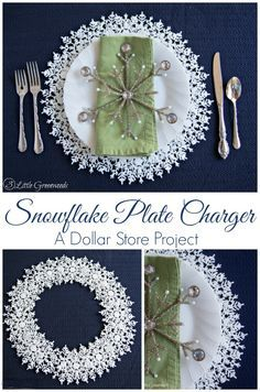 Snowflake Plate Charger {A Dollar Store Project} Add a little sparkle to your holiday table with this simple DIY project!  http://www.3littlegreenwoods.com/