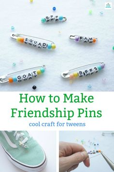 How to Make Friendship Pins with Letter Beads! Cool Craft for Tweens How to Make Friendship Pins with Letter Beads! Cool Craft for Tweens,Tween & Teen Crafts and Activities Learn how to make friendship. Crafts For Teens To Make, Diy For Teens, Bead Crafts, Crafts To Sell, Fun Things To Make For Teens, Cool Stuff To Make, Teen Arts And Crafts, Paper Crafts, Cute Crafts For Teens
