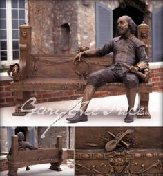 "Bronze sculpture of Shakespeare sitting on bench  by:  Gary Lee Price --  All the world's a stage, and all the men and women merely players: they have their exits and their entrances, and one man in his time plays many parts…"" ""As You Like It"" Act II Scene VII"