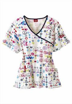 Dickies Medical Uniforms Peace Talk print scrub top.