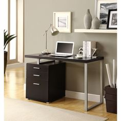 Use this sleek 48-inch desk in your home office. It can be configured to the left or right for the best fit. It is made of particle board, melamine and metal and features a cappuccino finish. Enjoy the large work space and a three-drawer filing cabinet.