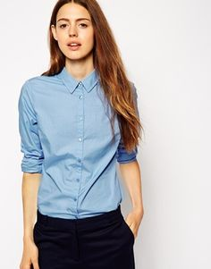 ASOS Fitted Shirt sky blue