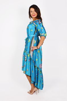 ♥ NEW COLLECTION ♥ Bright and bluel color dress with print by Zafirah Fashion! Special offer - $75.00! See it in our online shop -http://zafirahfashion.com/catalog/blue_frill #dress #fashion #Dubai #zafirahfashion