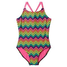 Girls 7-16 SO® Neon Chevron One-Piece Swimsuit, Girl's, Size: X