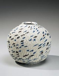 White globular <i>neriage</i> (marbleized) vase with blue and dark brown clay spotted inlays, ca. 1985 Matsui Kosei Stoneware with marbleized colored clay inlays 6 x 71/2 in. Inv# 8126 RESERVED Image