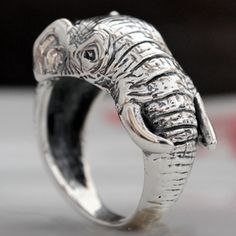 Thai silver elephant ring