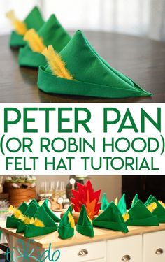 How to Make a Felt Peter Pan or Robin Hood Hat Tutorial for making a green felt Peter Pan or Robin Hood hat, including tips for making a completely no sew version of this hat. Diy Peter Pan Costume, Peter Pan Halloween Costumes, Robin Halloween Costume, Toddler Boy Halloween Costumes, Peter Pan Costumes, Boy Costumes, Easy Halloween, Robin Hood Costumes, Peter Pan Cosplay