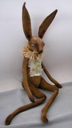 Folk Art Rabbit doll painted cloth soft sculpted hand stitching fiber art spring hare 3 on Etsy, $165.00
