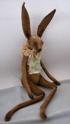Folk Art Rabbit doll painted cloth soft sculpted hand stitching fiber art spring hare 3 on Etsy, $165.00