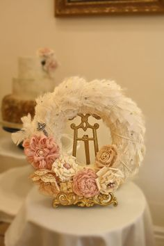 Shabby Chic Feather Wreath with Fabric Flowers