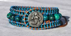 Turquoise 3 Layer Leather Cuff with Pewter by SeaSideStrands, $25.00