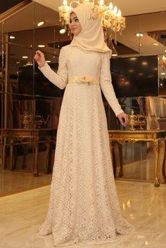 Pınar Şems Krem Çiçekli Esra Tesettür Abiye Elbise
