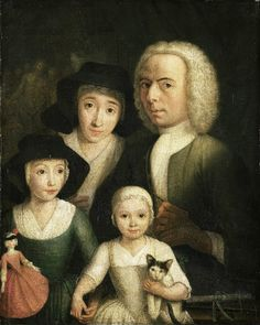 It's About Time: Children with Dolls 16C - 18C -- 1760, Hendrik Spilman ( Dutch artist 1721-1784) ,  Self Portrait of with his Wife Sanneke van Bommel and their Children.