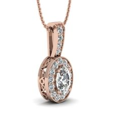 White Diamond Pendant In 18K Rose Gold | Royal Halo Pendant | Fascinating Diamonds