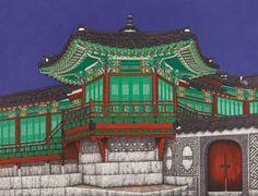 서양화가 김기철 개인전, '가나인사아트센터 ,'우리 궁궐' 극사실주의 화법과 다른 그만의 독창적 기법으로 세계적인 주목:▒▒ 시사코리아에 오신걸 환영합니다. ▒▒ Asian Architecture, Ancient Architecture, Korean Traditional, Traditional Design, Korean Art, Asian Art, Korean Colors, House Drawing, Old Building