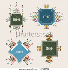 Stock Vector: Colorful ethno logo or banners design with authentic ornaments. Vector ethnic tribal logo emblem, aztec culture sign illustration -