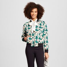 Women's Bomber Green Floral S - Who What Wear