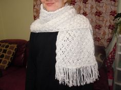 White Color Scarf Hand Knit Scarf by NKnitting on Etsy
