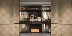 Modular wardrobe realized in dark and light Sycomoro frise' wood . Available with glass doors, covered drawers with soft closing system. belts and pants accessories. Modular Wardrobes, Luxurious Bedrooms, Light In The Dark, Drawers, Relax, Journey, Contemporary, Interior Design, Luxury