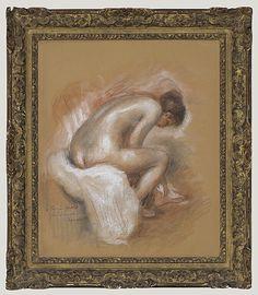 Inventaire du département des Arts graphiques - Nu féminin assis, s'essuyant le pied gauche - RENOIR Pierre Auguste