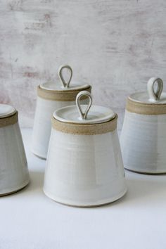 This beautiful hand thrown pottery white kitchen canister is made of a speckled clay. It's great for salt, spices, tea, herbs, cookies Pottery Supplies, Pottery Classes, Ceramic Pottery, Ceramic Art, Slab Pottery, Glazes For Pottery, Ceramic Painting, Pottery Vase, Ceramic Boxes