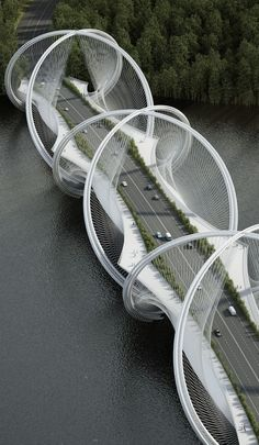 DNA-Shaped Suspension Bridge - top 10 construction : les ponts #architecture #pont www.novoceram.fr/...