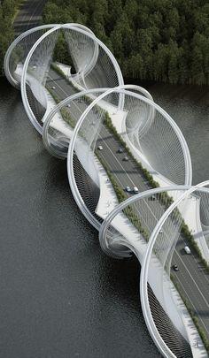 DNA-Shaped Suspension Bridge - top 10 construction : les ponts  #architecture #pont  http://www.novoceram.fr/blog/architecture/ponts-suspendus-top-10-construction