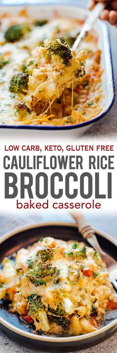 Healthy CAULIFLOWER RICE BROCCOLI CASSEROLE is full of cheesy, baked goodness that's gluten free, keto friendly, low carb and has loads of flavour. It's perfect when you want a complete meal for dinner. This can double up as a side dish or a main dish. Learn how to make cauliflower rice which is a great substitute for brown or white rice. Add cooked chicken for extra protein. via @my_foodstory
