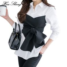 2017 Summer Korean Fashion Tie Shirt Blouse Female Black Bow Long Sleeve White Shirt OL Lady Office Shirt Plus Size Women Tops(China) Blouse Styles, Blouse Designs, Image Fashion, Korean Blouse, Top Mode, Plus Size Women's Tops, The Office Shirts, Moda Boho, Long Blouse