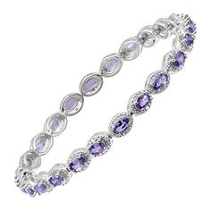 6 12 ct Natural Tanzanite Tennis Bracelet with Diamonds in Sterling Silver ** Click image to review more details-affiliate link. #Bracelet