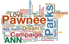 """Leslie Knope's Word Cloud. Please note: """"Hogwarts,"""" """"Jeggings,"""" """"Taylor Swift,"""" both """"Seal"""" and """"Seals,"""" """"Daniel Craig,"""" """"Downton Abbey,"""" """"Dolly Parton,"""" """"Icetown""""...and """"Hugs."""""""