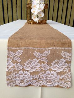SALE 15OFF Burlap Table Runner Ivory Lace By Divinebridaldesigns, $18.00