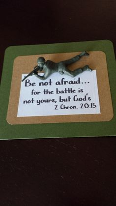 Do Not Be Afraid. Plastic army figure from oriental trading, hot glued to card stock. Do Not Be Afraid. Plastic army figure from oriental trading, hot glued to card stock. Sunday School Activities, Bible Activities, Sunday School Lessons, Sunday School Crafts, Group Activities, Bible School Crafts, Bible Crafts, Toddler Church Crafts, Bible Lessons