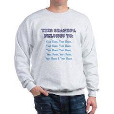 CafePress Personalized This Grandpa Belongs To Sweatshirt, Size: 2XLarge (+$3.00), Gray