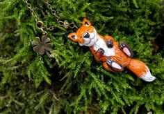 Cute Fox Polymer Clay Necklace, Fox Lovers Pendant