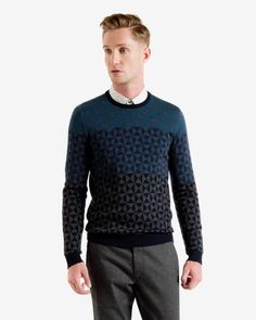 Ombré pattern wool jumper - Blue | Sweaters | Ted Baker
