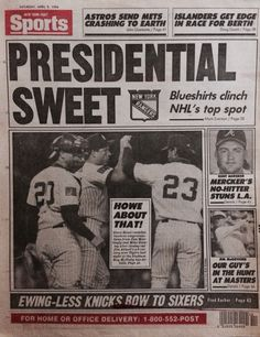 NY Post back cover. April 9, 1994. Headline-Presidential Suite. #NewYorkRangers beat the Maple Leafs and won the Presidents Trophy the night before. Let's go #NYR !!!!!