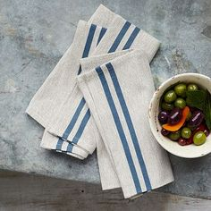Casa Stripe Napkin Set #westelm Idea for napkins and/or table set.  Another is Mustard with blue border stitch (table cloths for evening and/or back room Roebling room)