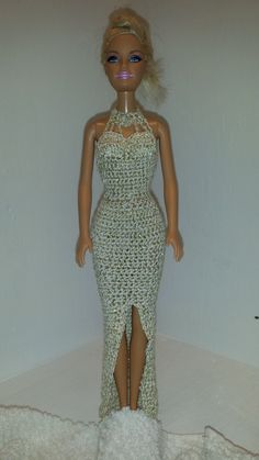 Crochet Barbie Doll Dress - Elegant Metallic Gold Evening Dress for Fashion Doll, Great Gift for Girls or Barbie Collectors by GrandmasGalleria on Etsy