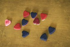 valentines gift: crayon hearts (gifts made by melting down old ones, and pouring them into a silicone mold til cooled)