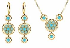 24K Yellow Gold Plated over 925 Sterling Silver Jewelry Set Necklace and Earrings by Lucia Costin with Lovely Flowers Ornate with Lace Ornaments Turquoise and Mint Blue Swarovski Crystals *** Details can be found by clicking on the image.