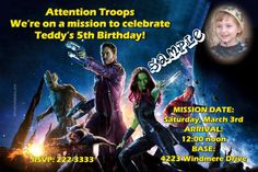 Guardians of the Galaxy Birthday Invitations - Get these invitations RIGHT NOW. Design yourself online, download and print IMMEDIATELY! Or choose my printing services. No software download is required. Free to try!