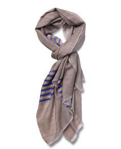 Marino-Silk Blend Banded Scarf in Blue & Yellow - Qind Design Blanket Scarf, Blue Yellow, Scarves, Silk, Band, Stuff To Buy, Design, Fashion, Scarfs