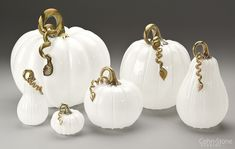 """White Series"" Hand Blown Glass Pumpkins and Squash — 5""w to 14""w"