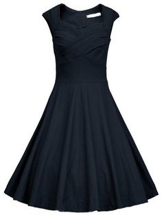 Vintage and chic : Navy Frocks Heart Shape Collar Raw Sleeveless Flare Dress .Cheap now at shein.com..40% Off Your 1st Order! Free Shipping with 100% Quality Guarantee!
