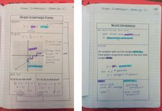 Start up for linear equations with word problems.  Nice Graphic Organizers for notes!